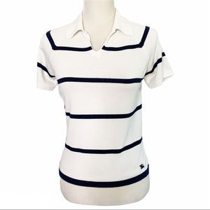 Vintage Burberry Polo shirt White Navy Striped 40